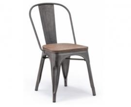 Stol Industrial, wood, Barva metalno siva, leseno sedišče.