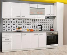 Kuhinjski blok Atena 260 cm, Barva bela visoki sijaj, siva