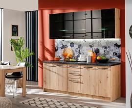 Kuhinjski blok Berlin 205 cm, Barva hrast/artisan, črna steklo