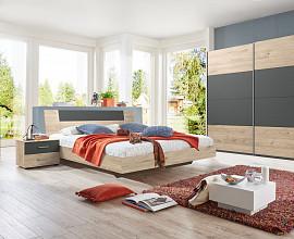 Komplet spalnica Bilbao 160x200 Barva hrast, temno siva
