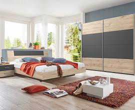 Komplet spalnica Bilbao 180x200 Barva hrast, temno siva