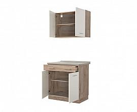 Kuhinjski blok Denver 80 cm , Barva sivi hrast, bela