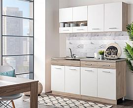 Kuhinjski blok Denver 160 cm , Barva sivi hrast, bela