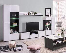 Dnevno sobni sestav Gloria 04 Barva bela, črna visoki sijaj