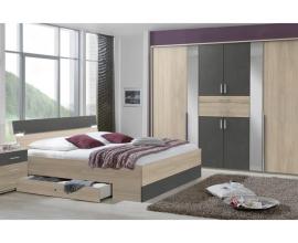 Komplet spalnica Granada 180x200, Barva hrast, siva, klasik