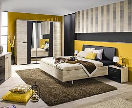 Komplet spalnica Karla 180x200 cm, Barva sivi hrast, črna