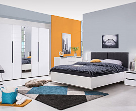 Komplet spalnica Kiara 160x200 Barva bela, siva