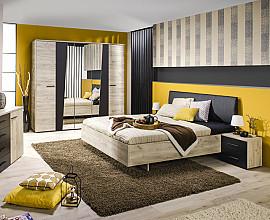 Komplet spalnica Karla 160x200 cm, Barva sivi hrast, črna