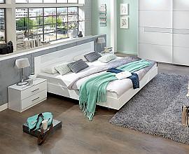 Komplet postelja z dnom in vzmetnico 180x200 cm MADRID, Barva bela