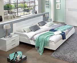 Komplet postelja z dnom in vzmetnico 140x200 cm MADRID, Barva bela