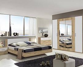 Komplet spalnica Malaga 180x200, Barva hrast bela, klasik