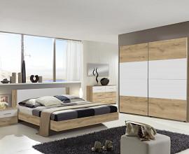Komplet spalnica Malaga 180x200, Barva hrast bela, drsna