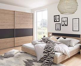 Komplet spalnica Maroko 180x200, Barva hrast, siva, drsna