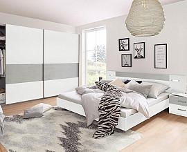 Komplet spalnica Porto 160x200, Barva bela, siva, drsna