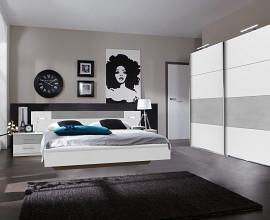 Komplet spalnica Porto 180x200, Barva bela, siva, drsna
