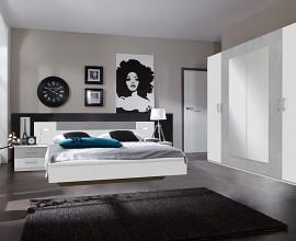 Komplet spalnica Porto 180x200, Barva bela, siva klasik