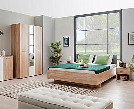 Komplet spalnica Rina 160x200 barva hrast, siva