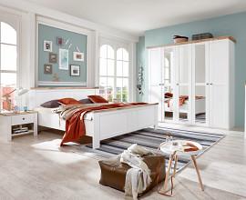 Komplet spalnica Vintage 160x200 cm, Barva bela, hrast