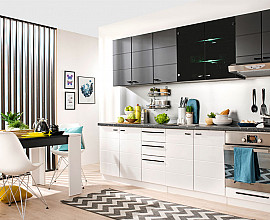Kuhinjski blok York 260 cm, Barva bela visoki sijaj, črna mat