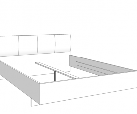 Posteljni okvir Karla 160x200, Sivi hrast, črna