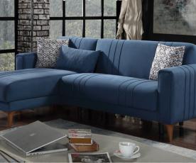 Sedežna garnitura Latina Barva modra, leva ali desna postavitev / VZMETENO